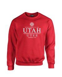 SDI NCAA Utah Utes Classic Seal Crew Neck Sweatshirt - Red - Size: XL