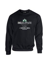SDI NCAA Delta State Statesmen Stacked Neck Sweatshirt - Black - Size: M