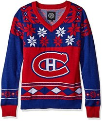 Nhl Ugly Christmas Sweater: Montreal Canadiens-v Neck/medium