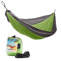 Double Camping Hammock - Lightweight Nylon Parachute Travel - Green)