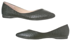Riverberry Ella Pointed Toe Ballet Flat - Black Croc - Size: 10