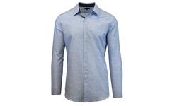 Men's Blue Printed Wash Long Sleeve Shirt - Blue Print - Size: Medium