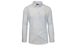 Galaxy By Harvic Men's Long Sleeves Solid Woven Shirts - White - Size: L