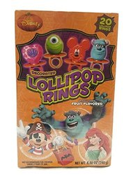 Disney Decorated Lollipops Rings Fruit Flavored  - 20 Rings - 8.46 OZ
