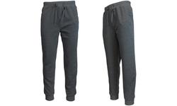 Galaxy Men's Slim Fit Fleece Jogger Pants - Charcoal - Size: Medium