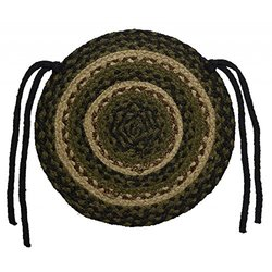 """New Ihf Home Decor Braided Rug 15"""" Round Chair Cover Pads Pinecone Design Jute Fabric Olive, Black & Tan (Set Of 4)"""