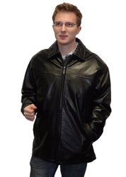 MAXXSEL Men's Leather Real Lamb Skin Jacket - Black - Size: Medium