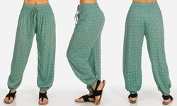 Women's Juniors' Printed Harem Pants - Teal - Size: Medium
