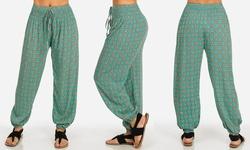 Women's Juniors' Printed Harem Pants - Teal - Size: Medium