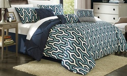 Chic Home Elegant 7-Piece Peyton Comforter Set - Navy - Size: Queen