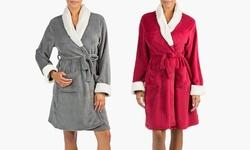 Olive Street Plush Robe: Red Bud-m/l