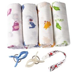 BabyVoice Swaddle Blankets + Stroller Clips/Pacifier Clip/Sleeping Guide