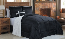 3-pc Micromink/Sherpa Reversible Comforter Set - Black - Size: Twin