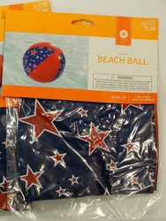 """Beach Ball Pool Party Toy Red & Blue W/ Stars 24"""""""