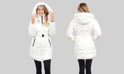 Kensie Women's Exaggerated Hooded Coat - White - Size: Small