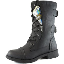 Women's Military Up Buckle Combat Boots with Credit Card Pocket - Black/12