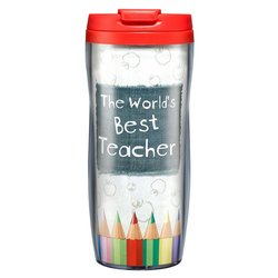 "Christian Art Gifts ""Best Teacher"" Polymer Travel Mug"