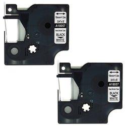 LK-DHS-P18057G Heat-Shrink Tube Labels for Rhino Printers - 2-Pk- Blk/Wht