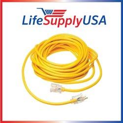 LifeSupplyUSA 12/3 100' 125 Volt 15 AMP Lighted Extension Cord