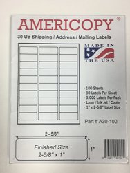 Americopy 5 Packs X 3000 Label Name and Address Labels - 15000 Labels