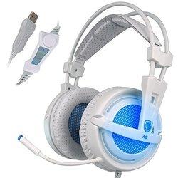 Sades A6 7.1 Virtual Surround Sound Gaming Headphones with Mic -White