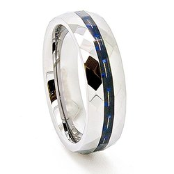 Women's 6mm Black/Blue Carbon Fiber Inlay Faceted Tungsten Ring - Sz: 12.5