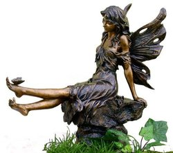 "Veronese 14"" Fairy & Butterfly Garden Statue - Antique Copper Finish"