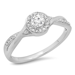 Women's 0.30 Carat 14K White Gold Round White Diamond Engagement Ring - 7