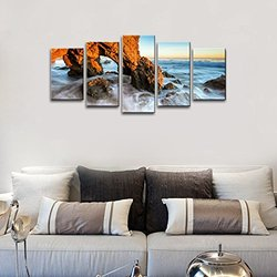 Wieco Art 5 Panels Framed Red Rock Seascape Canvas Prints