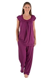 Women's Bamboo Bliss Pajama Sleep Set - Boysenberry - Size: Medium