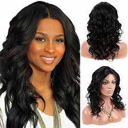 "Doubleleafwig Women's 12"" Human Hair Glueless Lace Wig - Natural Black"