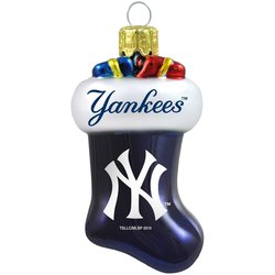 MLB Boston Red Sox Blown Glass Stocking Ornament -New York Yankees