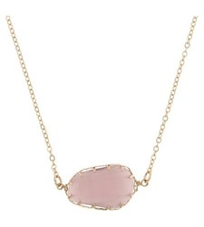 Women's Necklace Pendant w/ Horizontal Stone and Triangular Prongs - Mauve