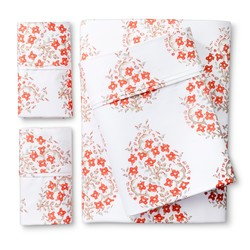Threshold Block Print Paisley Warm Sheet Set - Orange - Size: Full