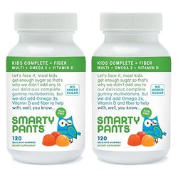 SmartyPants Kids Fiber Complete, Multi with Omega 3 and Vitamin D, 240 Count