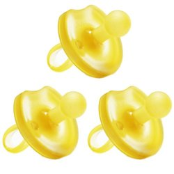 Natursutten Baby Butterfly Rounded Pacifier - 3 Pack - Yellow - Sz: Medium