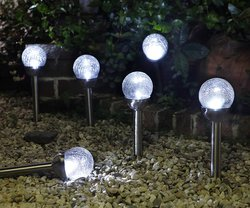 Grand Patio Solar Powered Ball Path Lamp for Path/Patio/Deck - Set of 4