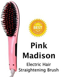 Pink Madison Electric Hair Straightening Brush Combfor Silky Straight Hair