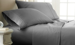 Merit Linens Double Brushed Checkered Bed Sheet Set - Gray - Size: Queen