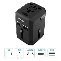 Insten Universal All in One Worldwide Travel Power Plug Wall AC Adapter Charger with Dual USB Charging Ports for US/EU/UK/AU, Black (2016 New Version)