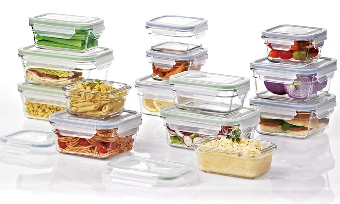 Ordinaire ... Glasslock Ovenproof Food Storage Container Set W/ Clear Lids   Set Of  28 ...