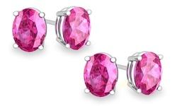 2-pack Of Sterling Silver Oval Cut Pink Sapphire Stud Earrings