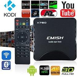Emish X750 4K UHD Quad Core 64 Bits 8GB 5.1 Amlogic S905 TV Box - Black