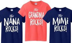 Grandmother's Tees: This Grandma Rocks!-coral Silk/l