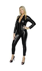 Shinny Wet Look Black Catsuit Four Way Zipper Closure - Size: Small