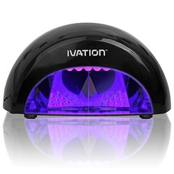 Ivation Professional LED Manicure Curing/Setting Lamp w/One Touch Presets - Polishes Look Glossier Nicer and Last Longer - Fast Easy and Professional Quality Results - Safer Then Traditional UV Lamps - Lightweight & Portable (Black)