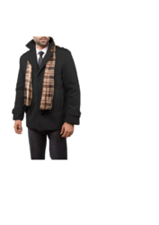 Braveman Men's Wool Blend Coats with Scarf - Charcoal - Size: XL