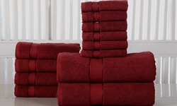 Double Ply 100% Luxurious Soft Cotton Towel Set - Biking Red - 12-piece