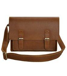 ZLYC Men Vintage Leather Briefcase 15.6 Inch Laptop Bag Leather Messenger Bag Handmade Shoulder Bag, Brown