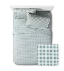 Pillowfort  Gingham Sheet Set - Green - Size: Queen